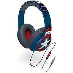 Capitán América–Auriculares de diadema con micrófono incorporado y control de volumen.