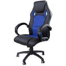 Songmics 119-129 cm Racing silla para oficina con respaldo alto color negro - Azul OBG26L