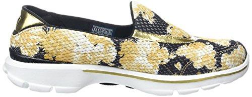Skechers Damen Go Walk 3Gold Rush Sneakers Schwarz (BNGD)