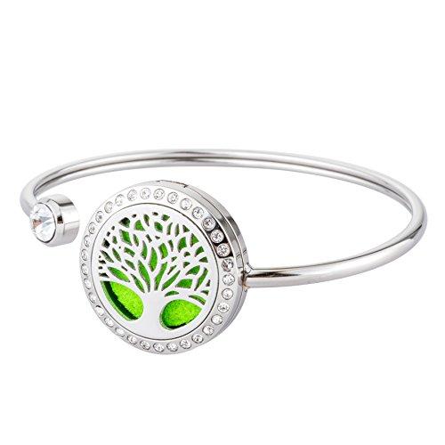 JOYMIAO bracciale diffusore di oli essenziali - bracciali in acciaio inox con bracciali per aromaterapia - set regalo gioielli per ragazze da donna e 8 pastiglie