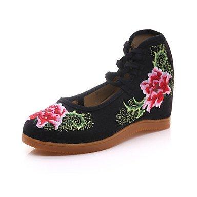 Damen-Outdoor-Outddor Büro Kleid Lässig Sportlich-Leinwand-Keilabsatz-Komfort Neuheit Bestickte Schuhe- Beige