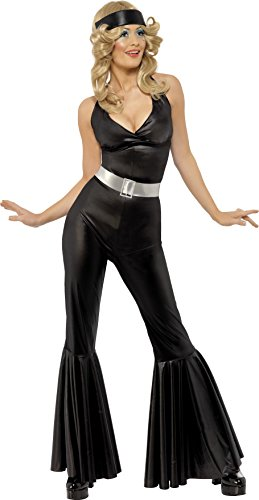 Black Flared Catsuit Costume for Women with Headscarf and Belt. Size 12 to 14.