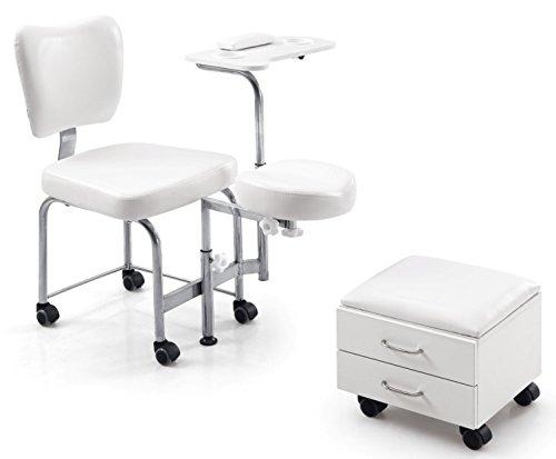 Fußpflegestuhl, Kosmetikstuhl mit Fußstütze und Tischchen Bianco