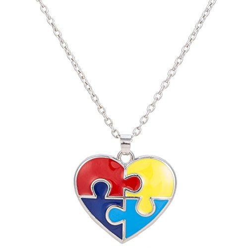 fishhook Collar con Colgante en Forma de corazón con Forma de Anzuelo para el Autismo y la Conciencia Autista