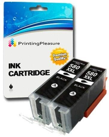 2 XXL Pigment SCHWARZ Premium PGI-580XXL PGBK Druckerpatronen für Canon Pixma TR7550, TR8550, TS6150, TS6151, TS8150, TS8151, TS8152, TS9150, TS9155 | PGI-580PGBK XXL -