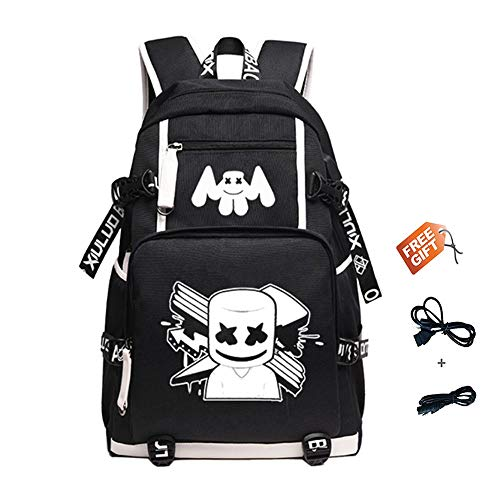 Deeumy DJ Marshmello Alan Walker Luminous Rucksack Schultasche, Jugend Unisex Laptop Rucksäcke Backpack Schultasche, Freizeit Travel Bag Musiktasche, mit USB-Ladeanschluss (Schwarz) -
