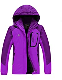 Hibote Mujer Hombre Chaqueta de Esquí Chubasqueros Al Aire Libre Impermeable Chaqueta de Nieve Lana Capa Fleece Forro Excursionismo Ropa de Deporte Invierno XL-4XL
