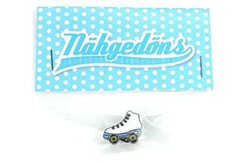 Nähgedöns.de Pin Rollschuh Roller Skate   Weiß Hellblau   Brosche   Anstecknadel   Anstecker
