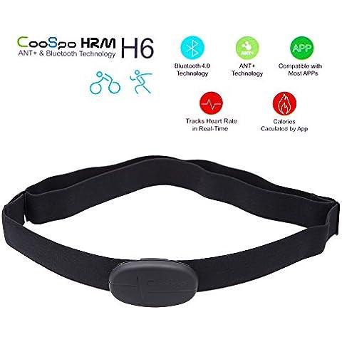 CooSpo H6 Pulsómetro inalámbrico Bluetooth V4.0, correa para el pecho con sensor, compatible con iPhone 4S, 5, 5S, 5C, 6, 6Plus, iPad