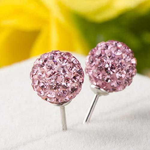 Ruiyiheng Ohrstecker 6 mm Kristall Clay Disco Ball für Damen und Mädchen - 6mm: Pink (Red Disco Balls)