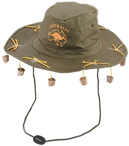 erdbeerclown - Australien Hut mit Korken, Grün (Halloween Kostüme Australien Online)