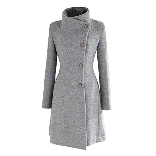 Nonbrand - Cappotto a doppio petto per donna, outwear, invernale, lungo, vintage, taglia XS, S, M, L Grey Large