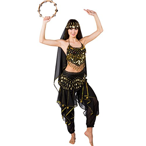 Bauchtänzerin Kostüm 1001 Nacht Damenkostüm schwarz orientalisches Bauchtanzkostüm Jeannie Karnevalskostüm (Schwarz Bauchtänzerin Kostüme)
