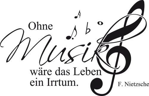 Preisvergleich Produktbild Graz Design 600078_57_070 Wandtattoo Wandaufkleber Musik Noten Zitat Ohne Musik wäre das Leben ein Irrtum