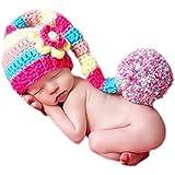 DELEY Bebé Niño Niña Crochet Tejer Largas Colas Pompón Sombrero de Disfraz Infantil Ropa Photo Props de 0-6 Meses