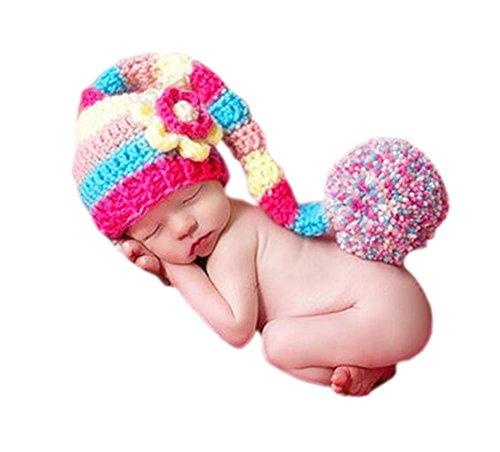 DELEY Baby Mädchen Häkeln Stricken Lange Schwänze Bommel Hut Kostüm Baby Kleidung Foto Requisiten 0-6 Monate - Lange Stricken Hut
