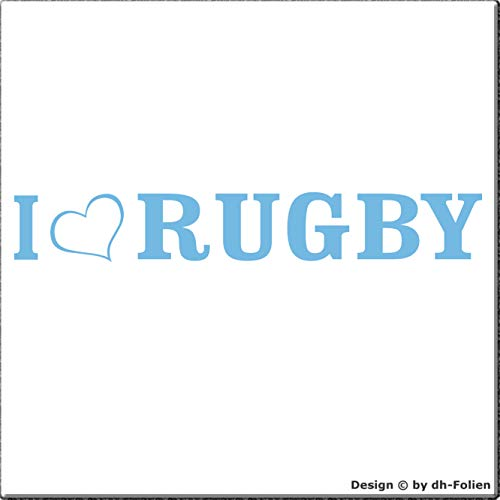 cartattoo4you® AL-00401 | I Love (als Herz) Rugby | K-Serie | 20 x 3 cm | Farbe Pastellblau | Autoaufkleber Aufkleber Car Sticker Heckscheibe Tuning Gym Sport,in 23 Farben erhältlich