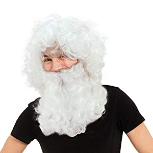 Father Christmas Santa Wig & Beard White Christmas Fancy Dress (peluca)