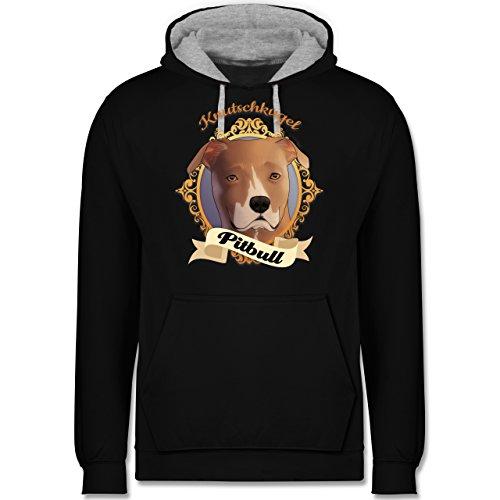 Hunde - Pitbull - Knutschkugel - Kontrast Hoodie Schwarz/Grau Meliert