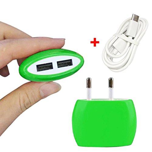 bescita 2A Dual USB Ports Home Wand Reise Wechselstrom Ladegerät Adapter + Typ-C Ladekabel (Grün) - Wechselstrom-wand-ladegerät-adapter