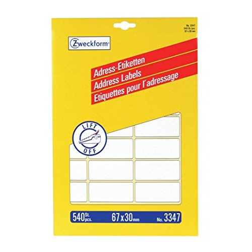 Preisvergleich Produktbild Avery Zweckform 3347 Adress-Etiketten, 67 x 30 mm, 20 Blatt/540 Etiketten, weiß
