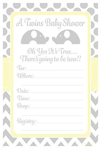 Twins Baby Dusche Einladungen Elefant Design Party–Fill In Style (20Count) mit Briefumschläge