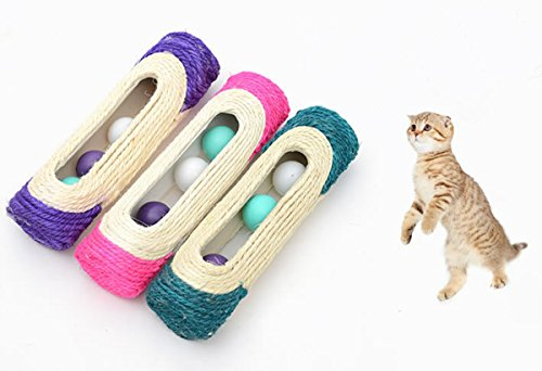 OWIKAR Cat Scratcher Sisal Rope Woven Scratching Barrel Toys with Ball Trapped Ball Training Cat Catch Sisal Post Hollow Column, Pink Purple Green Random Color,1 pack 2
