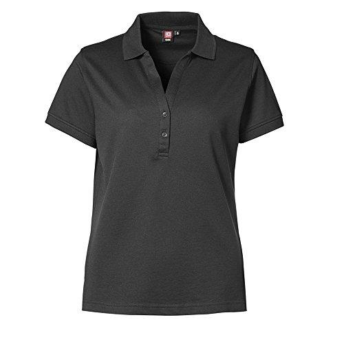 ID - Polo à manches courtes et col V (coupe féminine) - Femme Noir