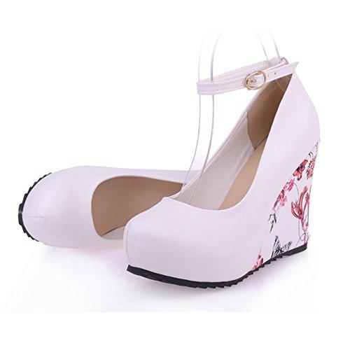 Heart&M Stile casuale di stampa PU modello femminile in gomma Sole Round-toe 9.5cm alti talloni di cunei scarpe White
