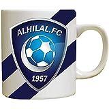 كوب سيراميك للقهوة أو الشاي مع شعار فريق الهلال ، الوان ثابتة - تصميم مرح