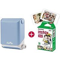 KiiPix Fotodrucker Sky Blue   Smartphone kompatibler Sofort-Fotodrucker   mit Fujifilm Instax mini Starterpaket    Polaroid-Bilder