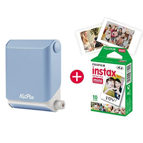 KiiPix Fotodrucker Sky Blue | Smartphone kompatibler Sofort-Fotodrucker | mit Fujifilm Instax mini Starterpaket |  Polaroid-Bilder - Portable Foto-drucker Bluetooth