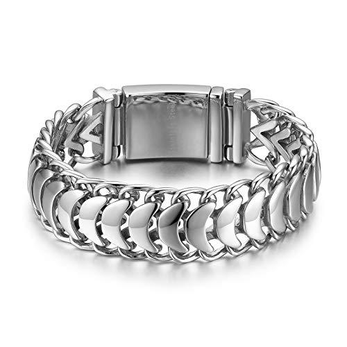 JewelryWe Herren Biker Armband, Edelstahl Hochglanz Poliert Kiel Link Armkette Armreif, Silber, mit kostenloser Gravur