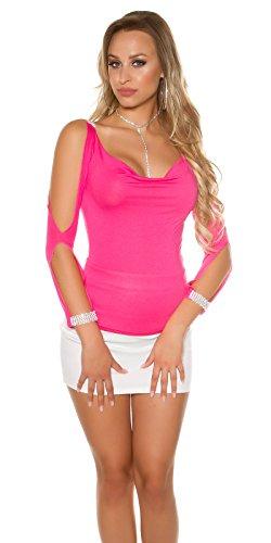 Longsleeve mit offenen Ärmeln und Strasslook Pink