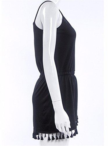 Mode D'Ete Nouvelles Femmes Panicule Lache Mini-Manches Retro Plage Sundress Black