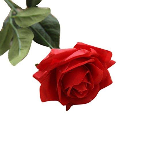 Coloré(TM) Fleurs artificielles Faux fleurs artificielles Roses Floral Bouquet de mariage Party Home Decor (Rouge)