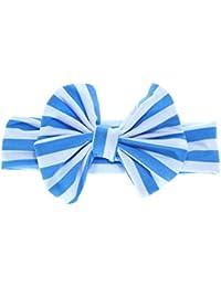 Silverone Fashion - Diadema con lazo y nudo de turbante para bebé azul