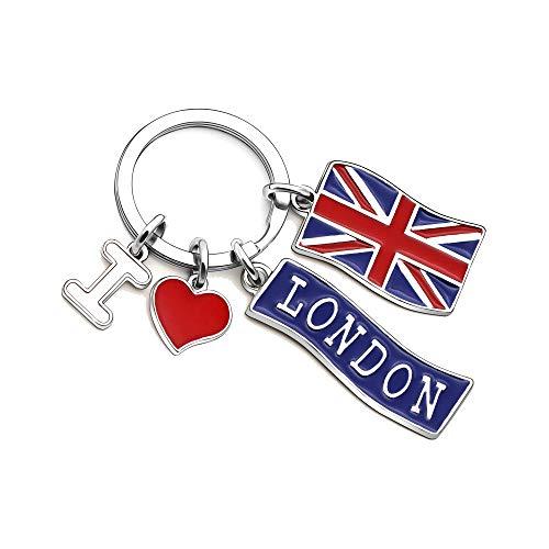 KENYG - Portachiavi con bandiera inglese'I Love London'