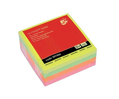 Cubo biglietti adesivi 5 Star 76x76 mm pastelli assortiti 908439