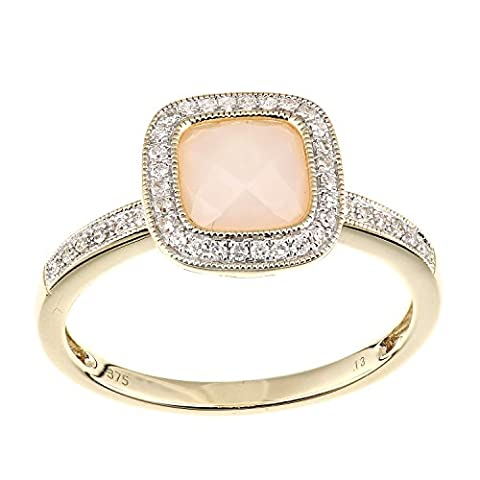 Naava Femme 9 carats (375/1000) Or jaune Coussin Rose Opal Diamant