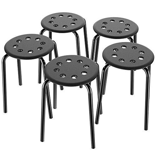 Yaheetech 5er Set Stapelhocker Metallhocker Barhocker Sitzhöhe 44 cm Spielzimmer Küche Schwarz - Spielzimmer-set