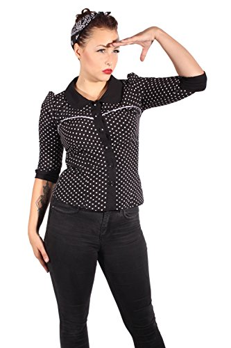 Fifties Polka Dots Rockabilly Puffarm Bubikragen Punkte 3/4arm Bluse S -