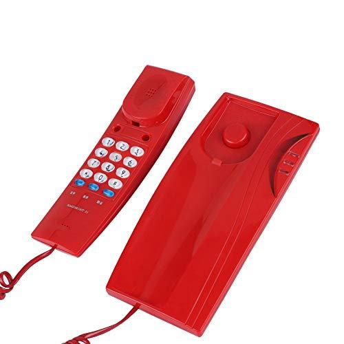 VBESTLIFE Rotes schnurgebundenes Telefon, Wandbefestigter Festnetztelefon mit ankommenden Anrufen Kontrollleuchte Unterstützung Pause Stummschaltung für Home Office Hotel