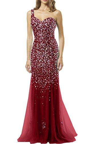 Victory Bridal Luxurioes Glaenzende Steine Ein-schulter Abendkleider Ballkleider Partykleider Meerjungfrau Weinrot
