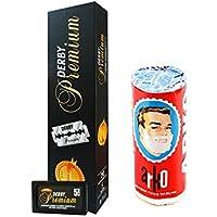 Derby Premium - 100 cuchillas de afeitar y espuma de afeitado Arko