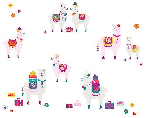 anna wand Wandsticker AMAZING ALPACAS - Wandtattoo für Kinderzimmer / Babyzimmer mit süßen Alpacas in verschiedenen Farben - Wandaufkleber Schlafzimmer Mädchen & Junge, Wanddeko Baby / Kinder