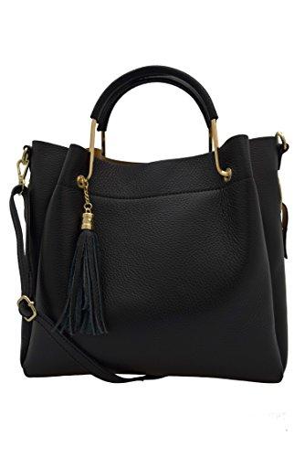 Handtasche Leder A.132 schwarz