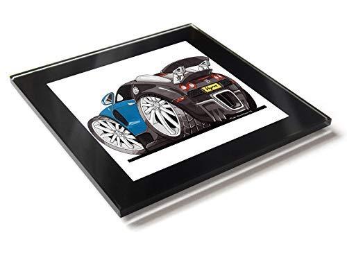 Koolart - Posavasos de cristal con caja de regalo para coches Bugatti Veyron, azul, 10 cm x 10 cm