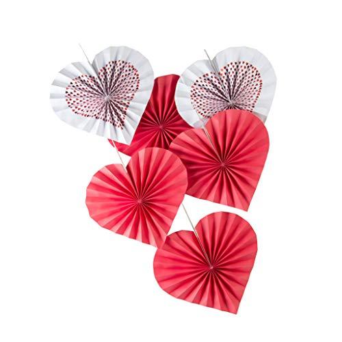 P Prettyia 6pcs Herzform Papier Rosetten Papierfächer Dekofächer Hängedeko für Hochzeit Verlobung und Weihnachten Rot Rosette