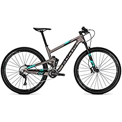 Focus o1e SL 29 Fully Mountain Bike Bicicleta Titanio Mate/Aquablue 2018, tamaño 42